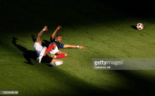 Kylian Mbappe of France reacts after rbeing fouled inside the box by Marcos Rojo of Argentina during the 2018 FIFA World Cup Russia Round of 16 match...