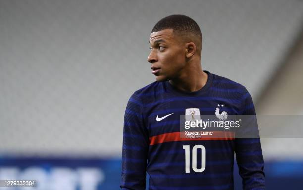 Kylian Mbappe of France reacts during the international friendly match between France and Ukraine at Stade de France on October 7, 2020 in Paris,...