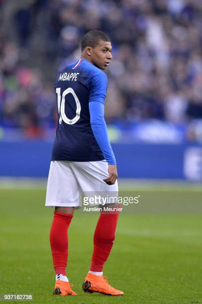 Kylian Mbappe of France reacts during the international friendly match between France and Colombia at Stade de France on March 23 2018 in Paris France