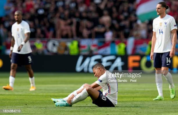 Kylian Mbappe of France reacts during the UEFA Euro 2020 Championship Group F match between Hungary and France at Puskas Arena on June 19, 2021 in...