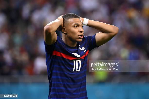 Kylian Mbappe of France reacts during the UEFA Euro 2020 Championship Round of 16 match between France and Switzerland at National Arena on June 28,...