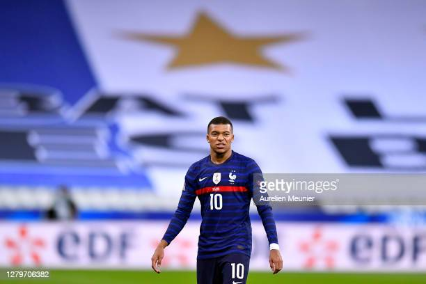 Kylian Mbappe of France reacts during the UEFA Nations League group stage match between France and Portugal at Stade de France on October 11, 2020 in...