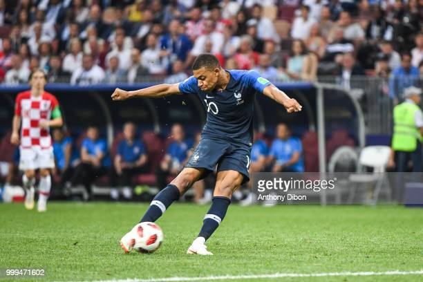 Kylian Mbappe of France score a goal during the World Cup Final match between France and Croatia at Luzhniki Stadium on July 15 2018 in Moscow Russia
