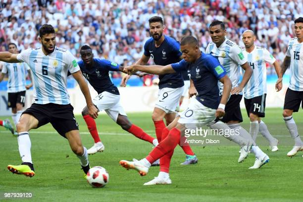 Kylian Mbappe of France scores a goal during the FIFA World Cup Round of 16 match between France and Argentina at Kazan Arena on June 30 2018 in...