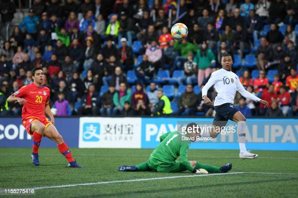 Kylian Mbappe of France scores his team's first goal during the UEFA Euro 2020 Qualification match between Andorra and France on June 11, 2019 in...
