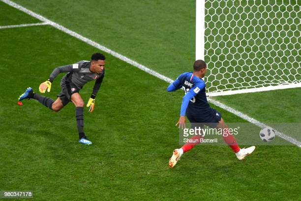 Kylian Mbappe of France scores his team's first goal past Pedro Gallese of Peru during the 2018 FIFA World Cup Russia group C match between France...
