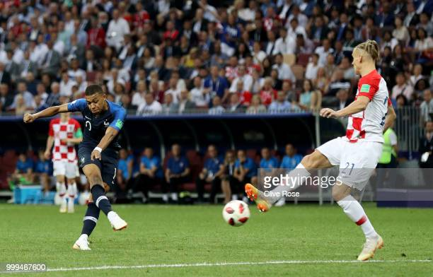 Kylian Mbappe of France scores his team's fourth goal during the 2018 FIFA World Cup Final between France and Croatia at Luzhniki Stadium on July 15...