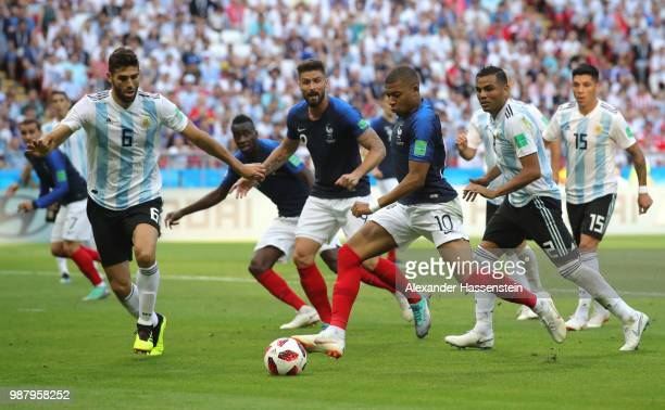 Kylian Mbappe of France scores his team's third goal during the 2018 FIFA World Cup Russia Round of 16 match between France and Argentina at Kazan...