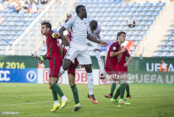 Kylian Mbappe of France scores the second goal for his team during the U19 match between Portugal and France at CarlBenzStadium on July 21 2016 in...