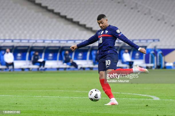 Kylian Mbappe of France shoots during the FIFA World Cup 2022 Qatar qualifying match between France and Ukraine on March 24, 2021 in Paris, France....