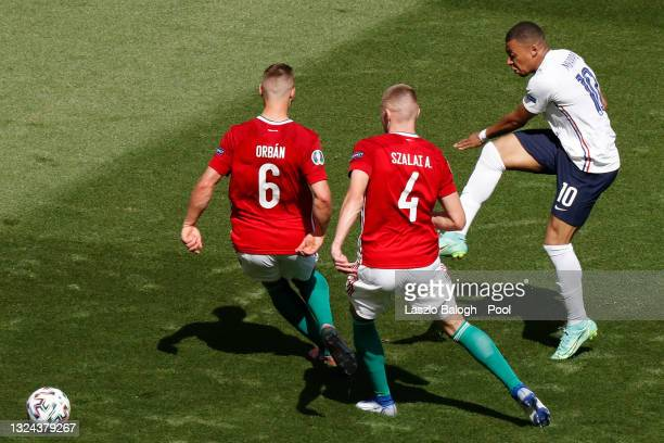 Kylian Mbappe of France shoots during the UEFA Euro 2020 Championship Group F match between Hungary and France at Puskas Arena on June 19, 2021 in...