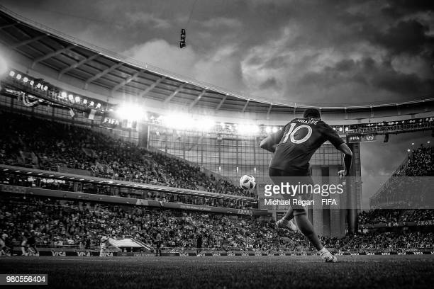 Kylian Mbappe of France takes acorner kick during the 2018 FIFA World Cup Russia group C match between France and Peru at Ekaterinburg Arena on June...