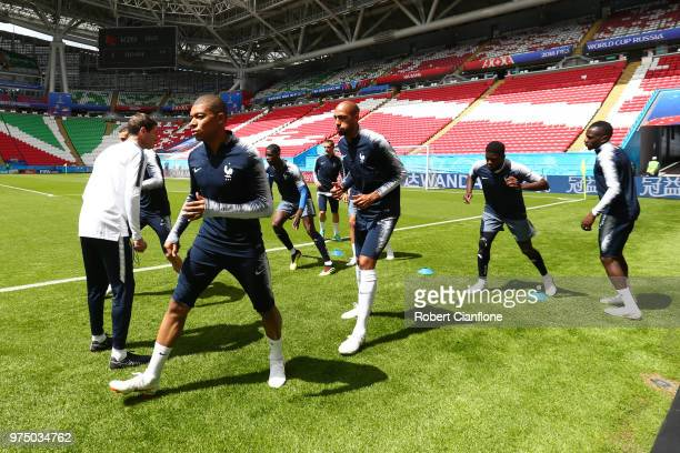 Kylian Mbappe of France trains with teammates during a France training session at Kazan Arena on June 15 2018 in Kazan Russia