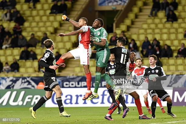 Kylian Mbappe of Monaco and Riffi Mandanda of Ajaccio during the French National Cup match between AS Monaco and AC Ajaccio at Louis II Stadium on...