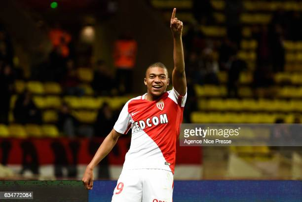 Kylian Mbappe of Monaco celebrate his goal during the Ligue 1 match between As Monaco and Fc Metz at Louis II Stadium on February 11 2017 in Monaco...