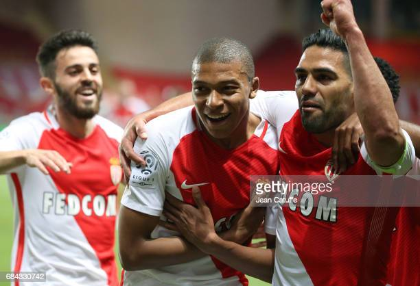 Kylian Mbappe of Monaco celebrates his goal between Bernardo Silva and Radamel Falcao during the French Ligue 1 match between AS Monaco and AS...