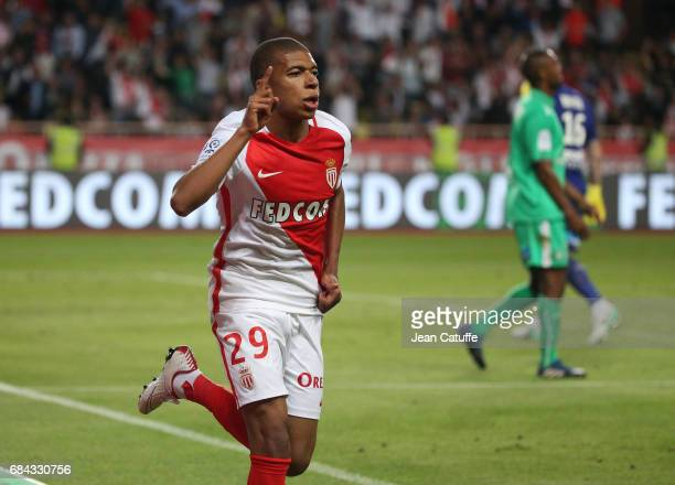 Kylian Mbappe of Monaco celebrates his goal during the French Ligue 1 match between AS Monaco and AS SaintEtienne at Stade Louis II on May 17 2017 in...