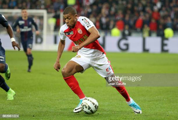 Kylian Mbappe of Monaco during the French League Cup final between Paris SaintGermain and AS Monaco at Parc OL on April 1 2017 in Lyon France