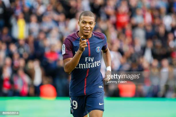 Kylian Mbappe of Paris Saint Germain celebrate his goal during the Ligue 1 match between Paris Saint Germain and FC Girondins de Bordeaux at Parc des...