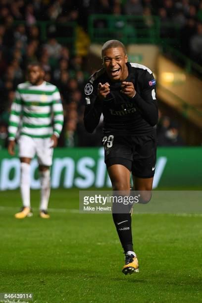 Kylian Mbappe of Paris Saint Germain celebrates after scoring during the UEFA Champions League Group B match between Celtic and Paris Saint Germain...