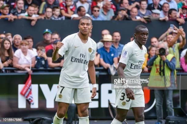 Kylian Mbappe of Paris Saint Germain celebrates hi first goal with Antoine Bernede of Paris Saint Germain during the French Ligue 1 match between EA...