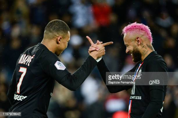 Kylian MBAPPE of Paris Saint Germain celebrates his goal with NEYMAR JR of Paris Saint Germain during the French Ligue 1 Soccer match between Paris...