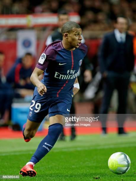 Kylian Mbappe of Paris Saint Germain during the French League 1 match between AS Monaco v Paris Saint Germain at the Stade Louis II on November 26...