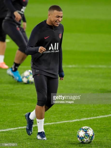 Kylian Mbappe of Paris Saint Germain during the Traning Paris Saint Germain at the Estadio Santiago Bernabeu on November 25 2019 in Madrid Spain