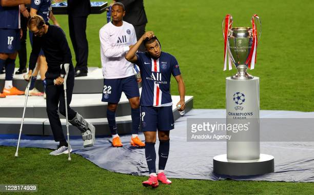 Kylian Mbappe of Paris Saint Germain gets upset at the end of the UEFA Champions League final football match between Paris Saint-Germain and Bayern...