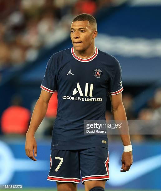 Kylian Mbappe of Paris Saint- Germain looks on during the Ligue 1 Uber Eats match between Paris Saint Germain and Strasbourg at Parc des Princes on...