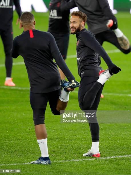 Kylian Mbappe of Paris Saint Germain Neymar Jr of Paris Saint Germain during the Traning Paris Saint Germain at the Estadio Santiago Bernabeu on...