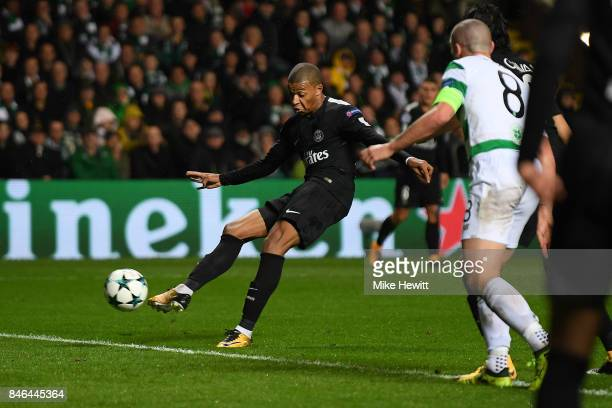 Kylian Mbappe of Paris Saint Germain scores during the UEFA Champions League Group B match between Celtic and Paris Saint Germain at Celtic Park on...