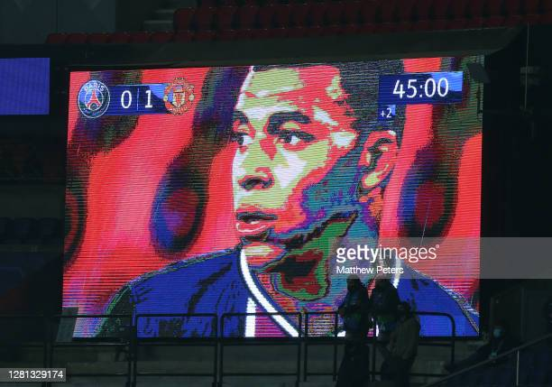 Kylian Mbappe of Paris SaintGermain appears on the big screen during the UEFA Champions League Group H stage match between Paris SaintGermain and...
