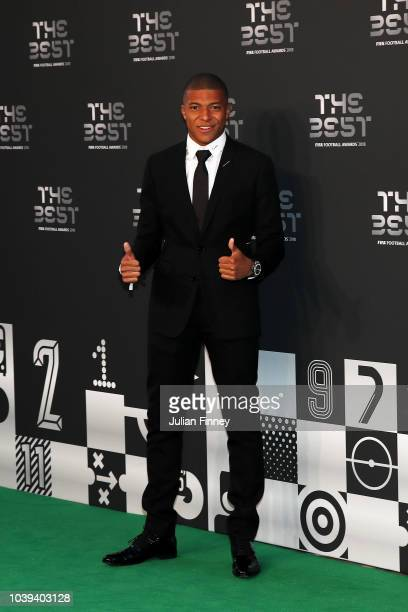 Kylian Mbappe of Paris SaintGermain arrives on the Green Carpet ahead of The Best FIFA Football Awards at Royal Festival Hall on September 24 2018 in...