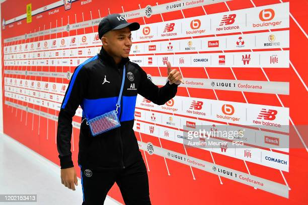 Kylian Mbappe of Paris Saint-Germain arrives to the stadium before the Ligue 1 match between Lille OSC and Paris Saint-Germain at Stade Pierre Mauroy...