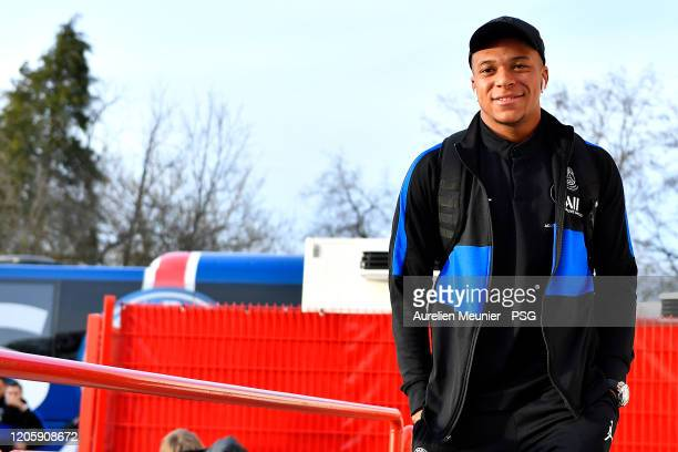 Kylian Mbappe of Paris SaintGermain arrives to the stadium before the French Cup match between Dijon and Paris at Stade Gaston Gerard on February 12...