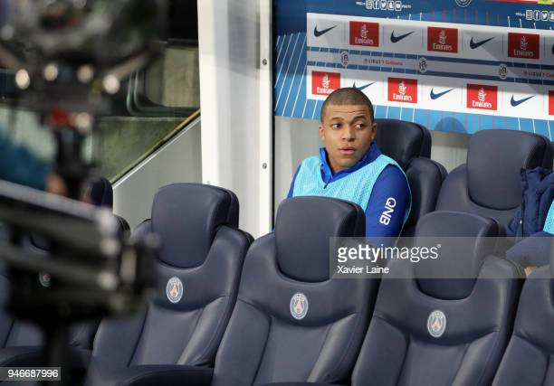 Kylian Mbappe of Paris SaintGermain attends during the Ligue 1 match between Paris Saint Germain and AS Monaco at Parc des Princes on April 15 2018...