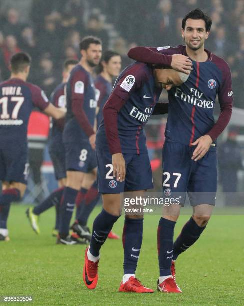 Kylian Mbappe of Paris SaintGermain celebrate his goal with Javier Pastore during the Ligue 1 match between Paris Saint Germain and SM Caen at Parc...