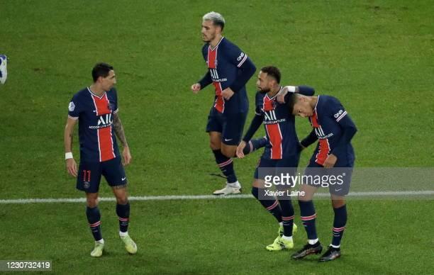 Kylian Mbappe of Paris Saint-Germain celebrate his goal with Neymar Jr and Angel Di Maria during the Ligue 1 match between Paris Saint-Germain and...