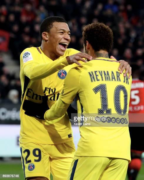 Kylian Mbappe of Paris SaintGermain celebrate his goal with Neymar Jr during the Ligue 1 match between Stade Rennes and Paris Saint Germain at...