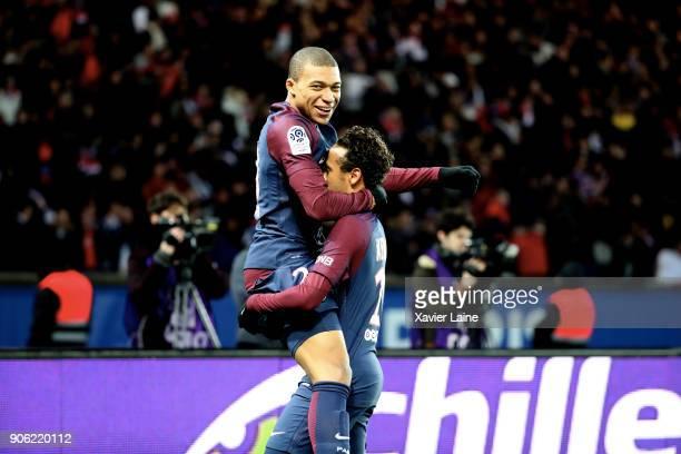 Kylian Mbappe of Paris SaintGermain celebrate his goal with Neymar Jr during the Ligue 1 match between Paris SaintGermain and Dijon FCO at Parc des...