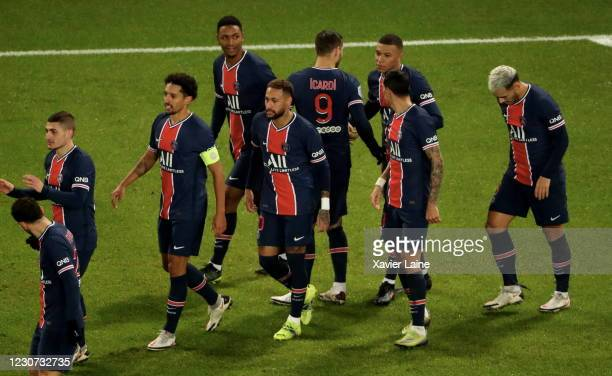 Kylian Mbappe of Paris Saint-Germain celebrate his goal with teammates during the Ligue 1 match between Paris Saint-Germain and Montpellier HSC at...