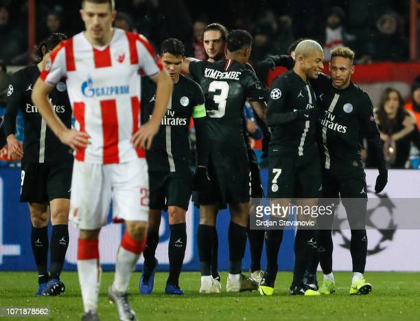 Kylian Mbappe of Paris SaintGermain celebrates after scoring a goal with Neymar during the UEFA Champions League Group C match between Red Star...