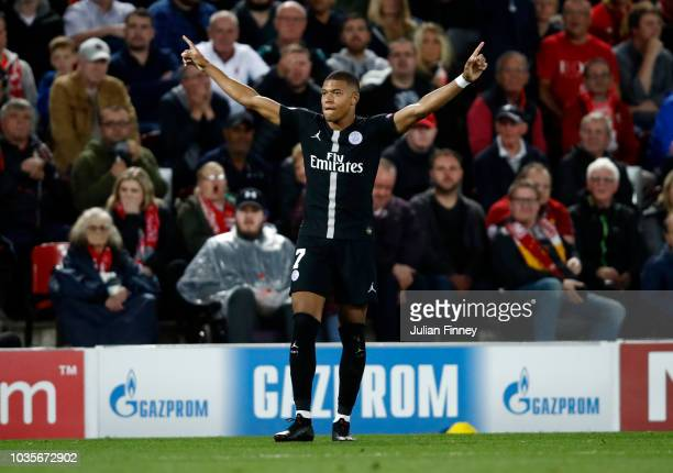 Kylian Mbappe of Paris SaintGermain celebrates after scoring his team's second goal during the Group C match of the UEFA Champions League between...