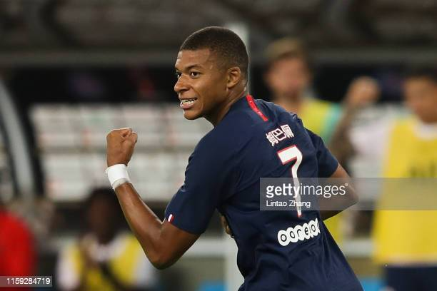 Kylian Mbappe of Paris SaintGermain celebrates after scoring his team's goal during to the 2019 Trophee des Champions between Paris saintGermain and...
