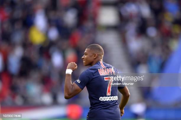 Kylian Mbappe of Paris SaintGermain celebrates his goal during the Ligue 1 match between Paris SaintGermain and Angers SCO at Parc des Princes on...