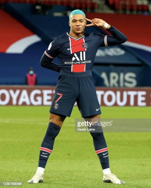 Kylian Mbappe of Paris Saint-Germain celebrates his goal during the Ligue 1 match between Paris Saint-Germain and FC Lorient at Parc des Princes on...