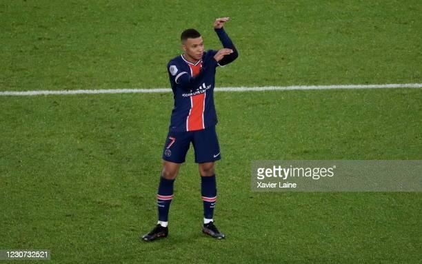 Kylian Mbappe of Paris Saint-Germain celebrates his goal during the Ligue 1 match between Paris Saint-Germain and Montpellier HSC at Parc des Princes...