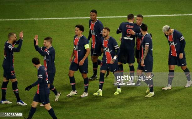Kylian Mbappe of Paris Saint-Germain celebrates his goal with teammates during the Ligue 1 match between Paris Saint-Germain and Montpellier HSC at...