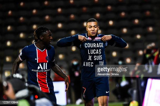 Kylian MBAPPE of Paris Saint-Germain celebrates his scoring during the Ligue 1 match between Nimes Olympique and Paris Saint-Germain at Stade des...